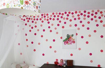 Peinture à l'éponge pour un mur à pois