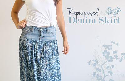 transformer un jean en jupe bohème (tutoriel gratuit - DIY)