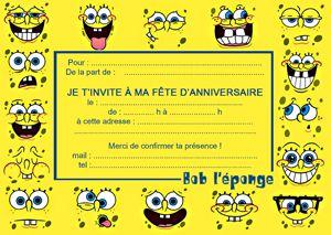 cartons d'invitation gratuits à imprimer Bob l'éponge !