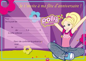 cartons d'invitation gratuits à imprimer Polly pocket !