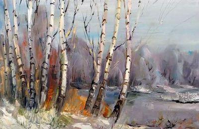 Dessin et peinture - vidéo 2033 ; La forêt aux portes du printemps - huile sur toile.