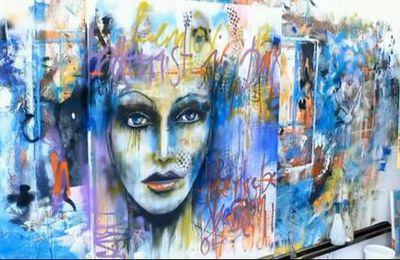 """Dessin et peinture - vidéo 1965 : Un portrait tout en abstraction dans le style du """"street art""""."""