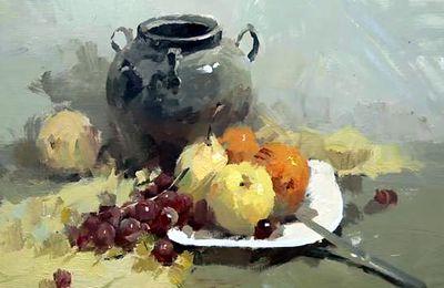 Dessin et peinture - vidéo 2140 : Nature morte à la cruche et aux fruits ( composition n°1 ) - gouache sur papier.