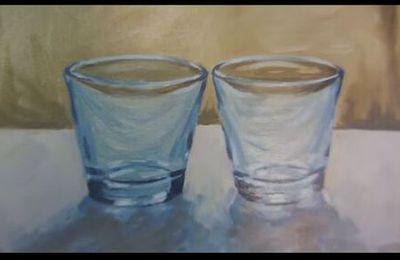 Dessin et penture - vidéo 1883 : Comment peindre la transparence à la peinture à l'huile ? - les 2 verres.