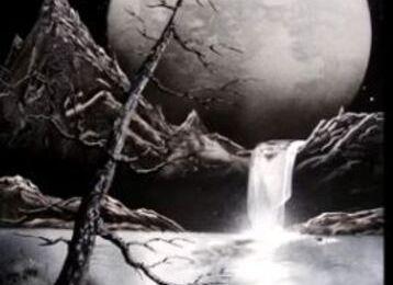 Dessin et peinture - vidéo 2043 : Peindre avec une peinture aérosol - (peinture en bombe) - la nature cosmique en noir et blanc.