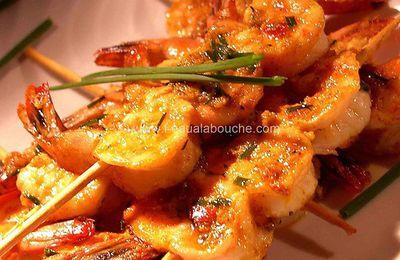 Brochettes de Crevettes Beurre de Curry & Gingembre