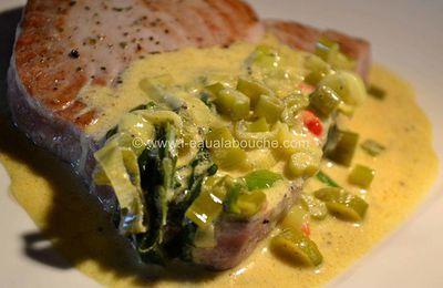 Filet de Thon Grillé à l'Ail des Ours & Curry