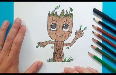 Como dibujar a Groot paso a paso - Los guardianes de la galaxia