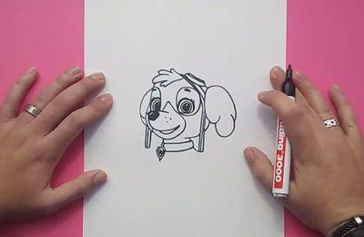 Como dibujar a Skye paso a paso - La Patrulla Canina