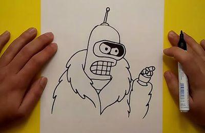 Como dibujar a Bender paso a paso 2 - Futurama