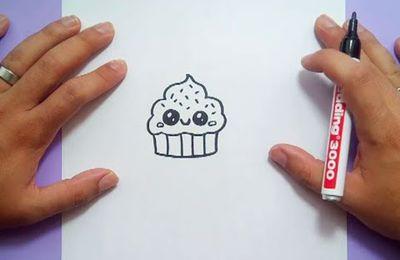 Como dibujar un cupcake kawaii paso a paso
