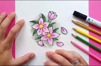 Como dibujar flores paso a paso 6