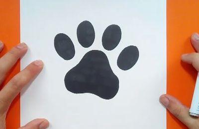 Como dibujar una huella de perro paso a paso