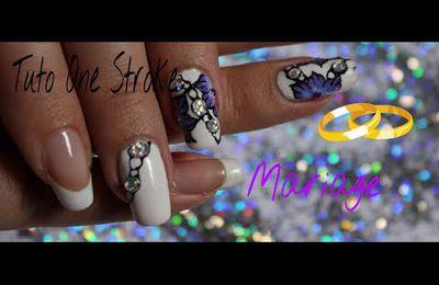 Vidéo nail art mariage fleurs russes en on stroke