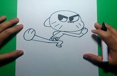 Como dibujar a Gumball paso a paso 4 - El asombroso mundo de Gumball