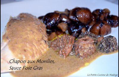 Chapon Poché, à la Crème de Foie Gras et aux Morilles