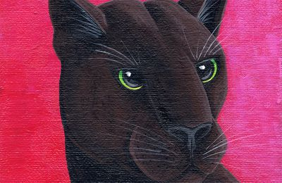 """Mister panther"" 10 X 10 cm © Catherine MUSNIER"