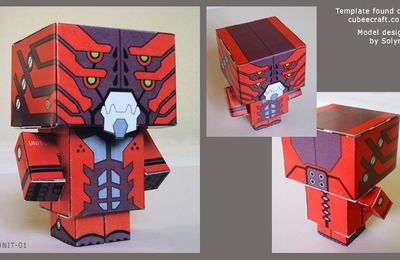 cubeecraft - papercraft toy - red robot