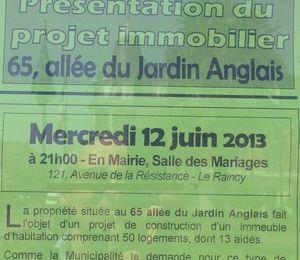 Réunion mercredi 12 juin 2013 projet au 65 Jardin Anglais