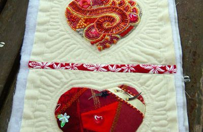 Coeurs crazy quiltés / Quilting of Crazy Hearts