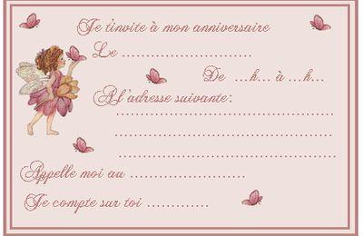 335. Petite invit' fée pour anniversaire & son enveloppe