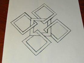 Charm Quilt.....Préparation du montage...coloriage du croquis, découpe des petits morceaux !