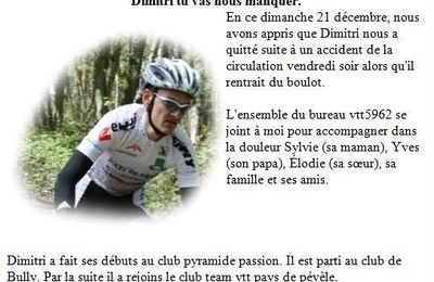 Dimitri Lachery Champion VTT se tue en accident de voiture a douvrin