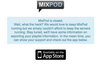MixPod Is Closed ! :-/