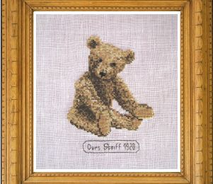 Broderie point de croix: Heinrich, l'ours Steiff de 1920. L'our de collection du mois de février