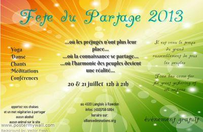 La fête du Partage, les 20 et 21 juillet 2013 à Rawdon