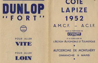 Les motos de la côte Lapize 1952