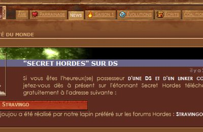 Secret Hordes cité par Motion Twin !