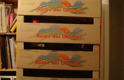 Recyclage de cagettes en carton en meuble de rangement