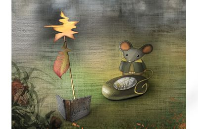 """ Boat Book and mouse "" Lore M's illustration for kids and more"