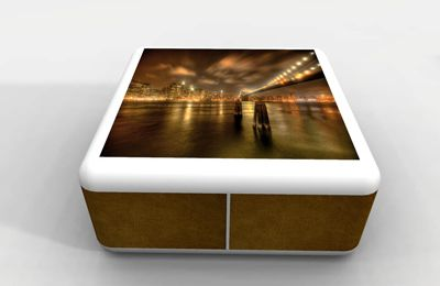 Table basse Design Cubitus avec poufs