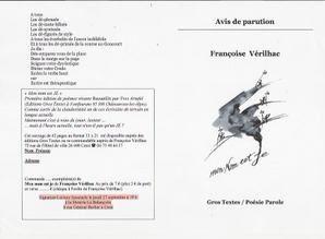 Parution d'un Livre de textes de Françoise Vérilhac