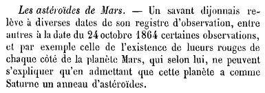 Les astéroïdes de Mars (1877) Académie des sciences