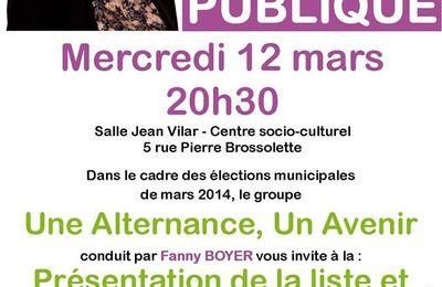 """Réunion publique autour de Fanny Boyer et de la liste """"une alternance, un avenir"""" - 12 mars, Le Plessis-Bouchard"""