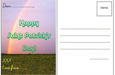 Writing a postcard for Saint Patrick's Day