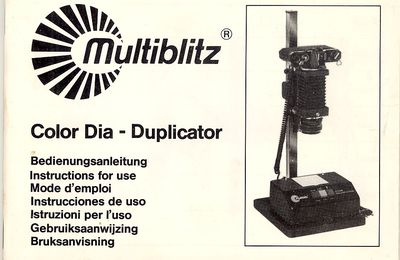 Mode d'emploi MULTIBLITZ COLOR DIA-DUPLICATOR – Voltage / Tension