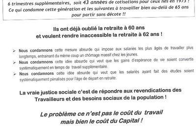 RETRAITES : Cherbourg 17 septembre 2013 17h30 - Nous voulons la retraite à 60 ans!
