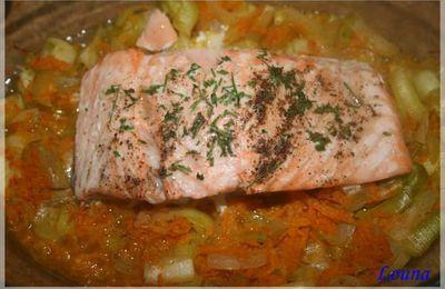 Pavé de saumon sur lit de carotte et poireaux......