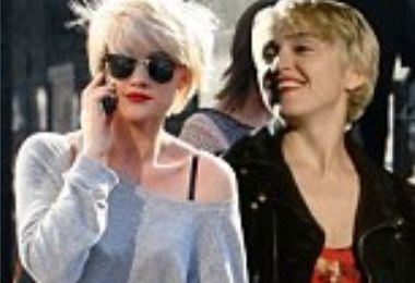 Blonde ambition: Katie Waissel with Madonna's 'Papa don't preach' look