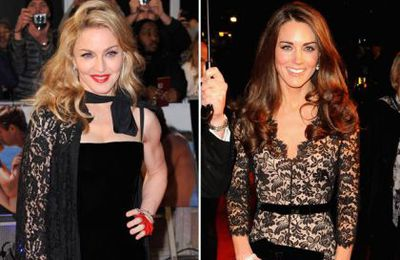 Madonna, Kate Middleton and Angelina Jolie in black lace