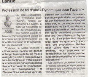 OUEST-FRANCE 05/03/2008