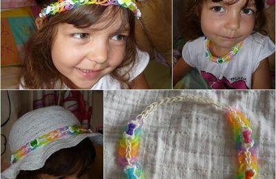 Bracelet en élastiques & Ci : Mon bijoux rainbow loom serre tete / collier