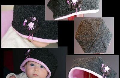 Chapeau Tilda et écharpe feuille réversible