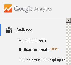 Utilisateurs actifs 7 jours, 14 jours, 30 jours - Google Analytics