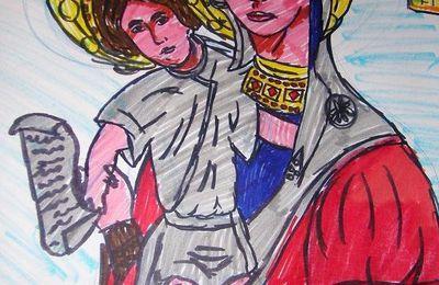 Desen religios - Maica Domnului cu Pruncul