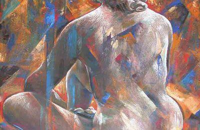 Nu cubiste féminin grand format '' Sultane Au Prisme '' 94x145Cm